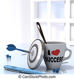 Successful Executive Concept consisting of one mug where it is written I love success and one dartboard with a dart hitting the bullseye. 3D render 1mage