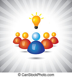 successful executive or employee with ideas- simple vector graphic. This illustration can also represent manager and his staff, political or business leader and followers, winning executive or person
