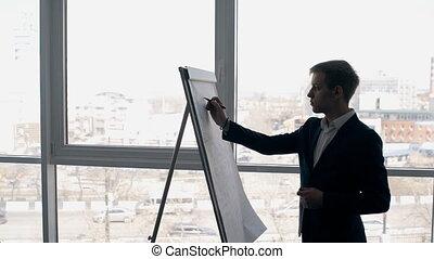 Successful expert businessman writes on flipchart standing...