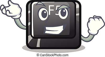 Successful f5 installed on the mascot computer vector illustration