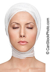 Successful facelift, isolated, white background