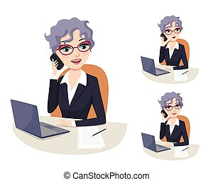 Friendly businesswoman with grey hair and eyeglasses talking on the phone in her office with computer and document files. Professional career powerful woman in Politics. Lawyer, Politician, senator, congresswoman. Facial expressions