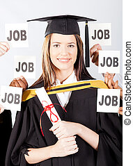 successful female university graduate