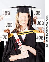successful female university graduate