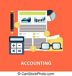 Successful financial business plan report and accounting concept vector illustration