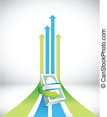 successful financial graph illustration design over a white...