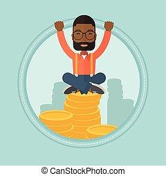 Successful financier sitting on golden coins. - An...