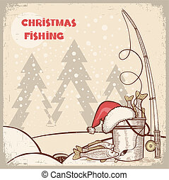 successful fishing in Christmas holiday.Vector winter card background for text