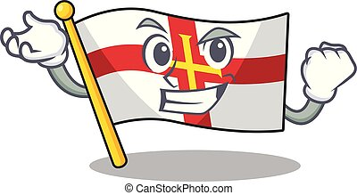 Successful flag guernsey with the cartoon shape vector illustration