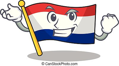 Successful flag netherlands with the mascot shape vector ...