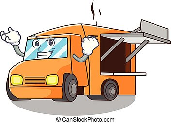 Successful Food Truck with Isolated on mascot