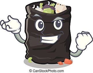Successful garbage bag in the cartoon shape vector illustration