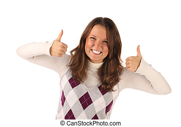 Successful girl on white background