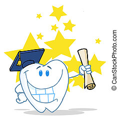 Tooth Character Grad Holding A Diploma Over Stars
