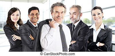 Successful group of business people in the office