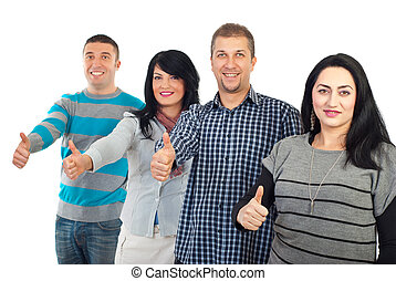 Successful group of people gives thumbs