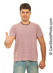 Successful guy in blank stripes t-shirt