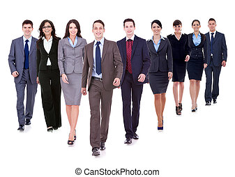 Successful happy business team walking