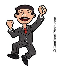 Successful happy businessman jumping 2