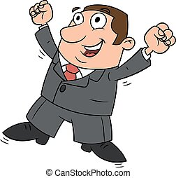 Successful happy businessman jumping