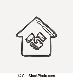 Successful housing transaction sketch icon