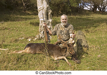 successful hunter and fallow deer taken in New Zealand