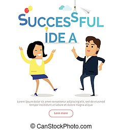 Successful Idea Vector Web Banner in Flat Design