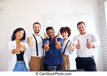 Successful international business people in office