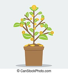 Successful investment concept with home plant in flower pot and dollar symbol coins. Flat vector illustration.