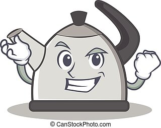 Successful kettle character cartoon style vector...