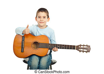 Successful little guitarist with guitar