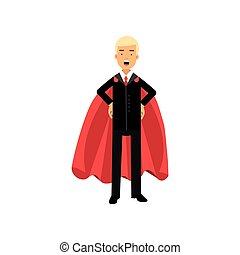 Successful man in red superhero cape standing with arms akimbo. Male character in classic business suit with tie. Office worker in confident pose. Flat vector design