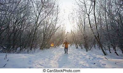 successful man on winter nature