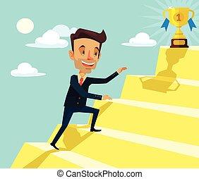 Successful man. Vector flat cartoon