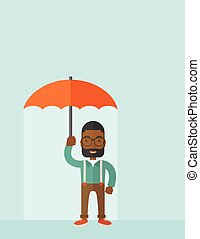 Successful man with umbrella.
