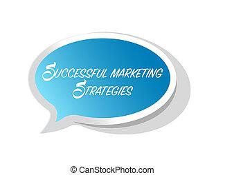 Successful marketing strategies bright message bubble