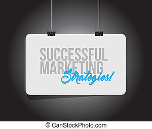 Successful marketing strategies hanging banner message
