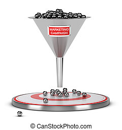 Successful Mass Marketing Campaign Concept - One funnel with...
