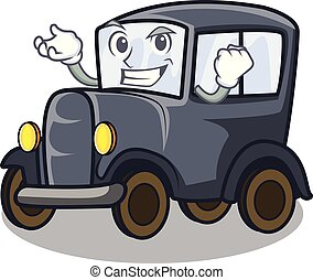 Successful old car isolated in the cartoon