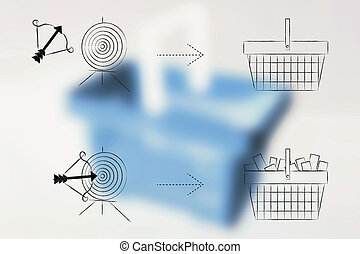 empty shopping basket resulting from missed target and full one after target hit icon on blurred cart background