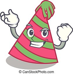 Successful party hat character cartoon vector illustration