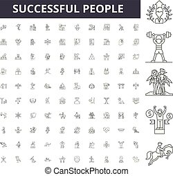 Successful people line icons, signs, vector set, outline illustration concept