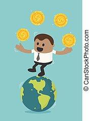 .successful, pojęcie, handlowy, przelew, monety, afrykanin, biznesmen