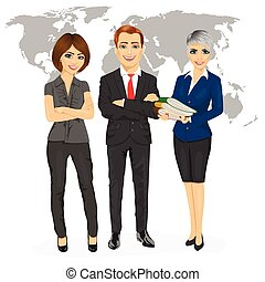 successful professional business team standing with arms folded in front of an earth map