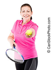 successful professional tennis player with the ball on a white background and racket