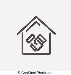 Successful real estate transactions thin line icon