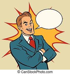 Successful retro businessman on a comic strip background,...