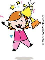 Successful - Retro Cartoon Female Housewife Mom Vector Illustration