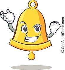 Successful school bell character cartoon