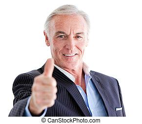 Successful senior businessman with a thumb up